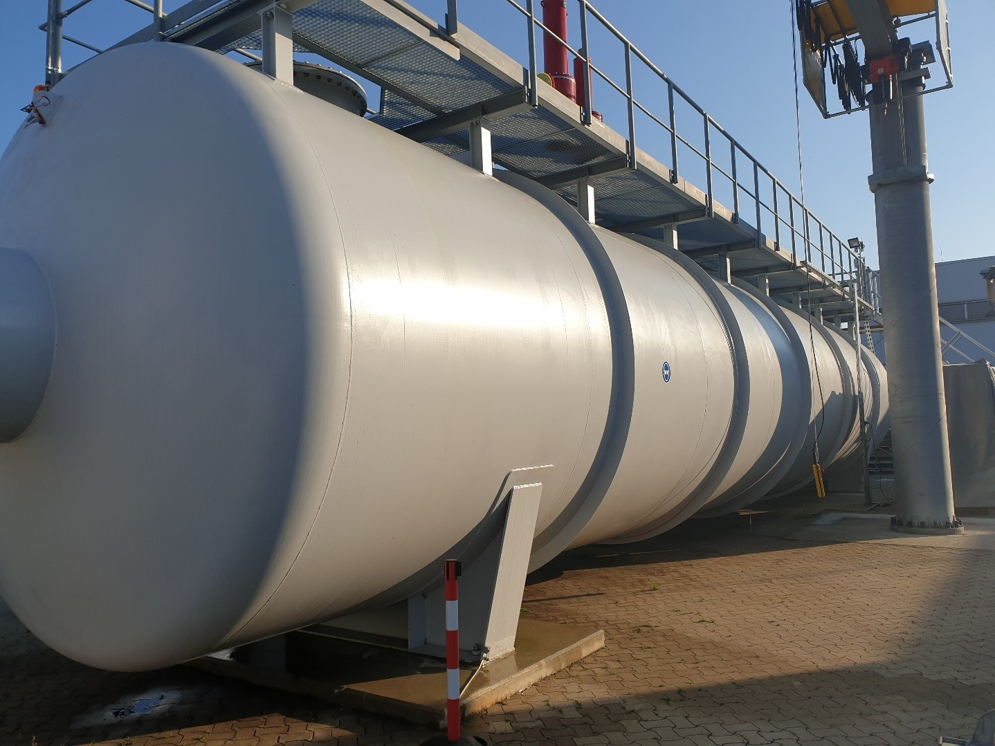 Backside of the 200 m3 storage tank at PROTEGO ® Headquarter